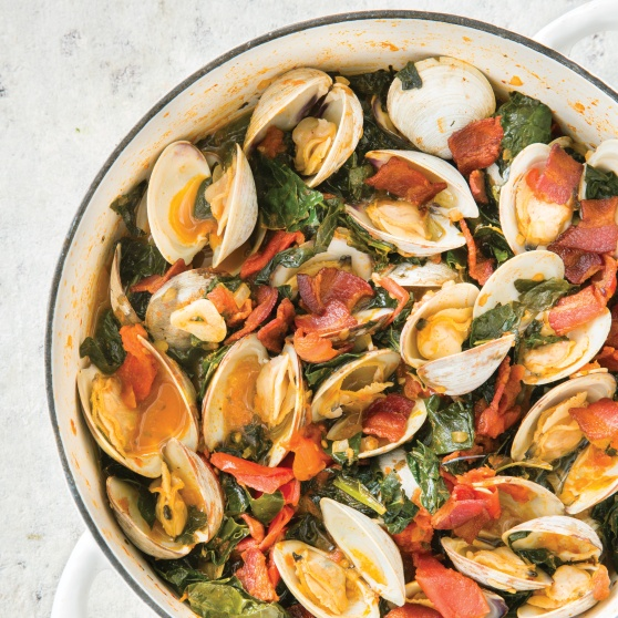 Smoky Braised Clams with Kale