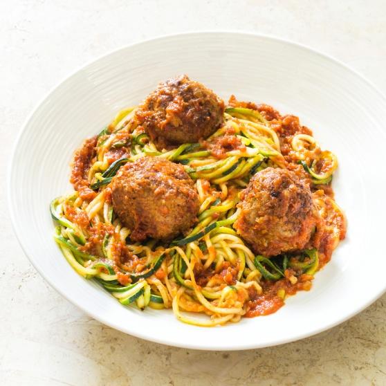 """Zucchini """"Spaghetti"""" and Meatballs"""